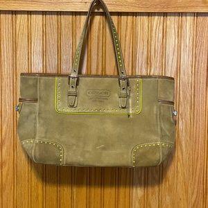 Coach purse tan suede